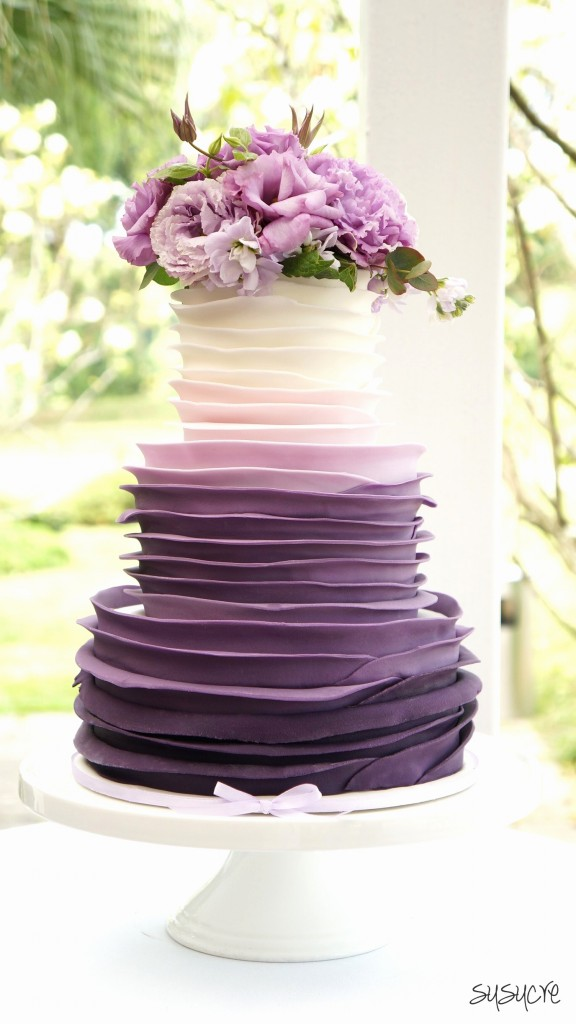 purple pink wedding cake Lovely Purple Ombre Wedding Cake