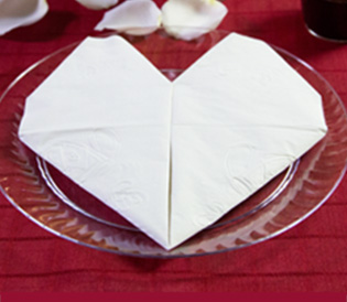 Serce z papierowej serwetki